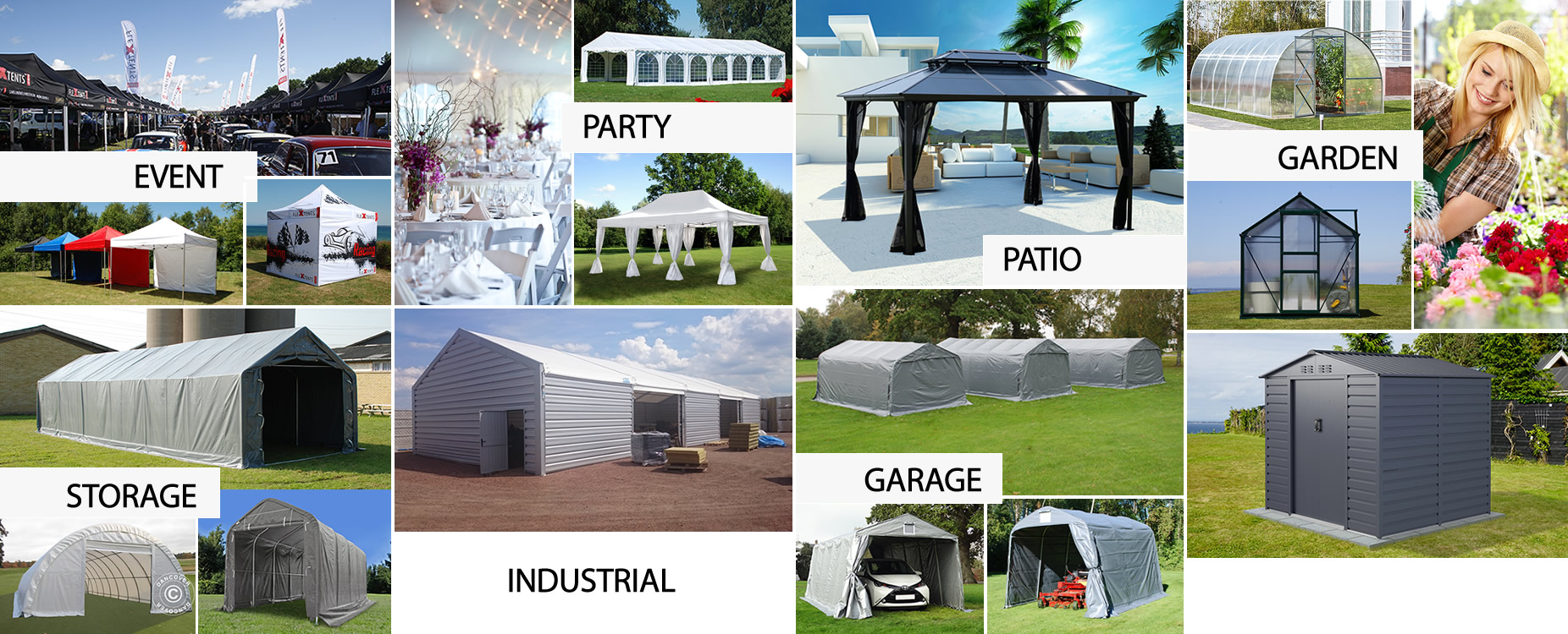 Marquees,pop-up gazebos,storage shelters,garage tents,greenhouses,polytunnels, garden sheds